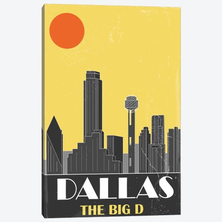Dallas, Yellow Canvas Print #FLY15} by Fly Graphics Canvas Artwork
