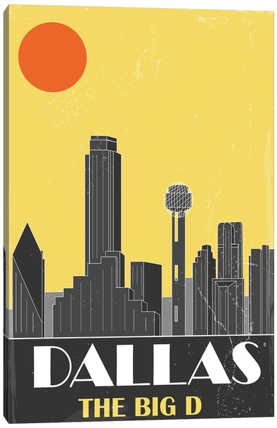 Dallas, Yellow Canvas Art Print