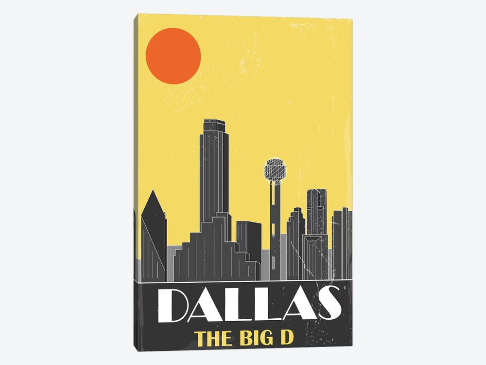 Dallas, Yellow by Fly Graphics 1-piece Canvas Artwork