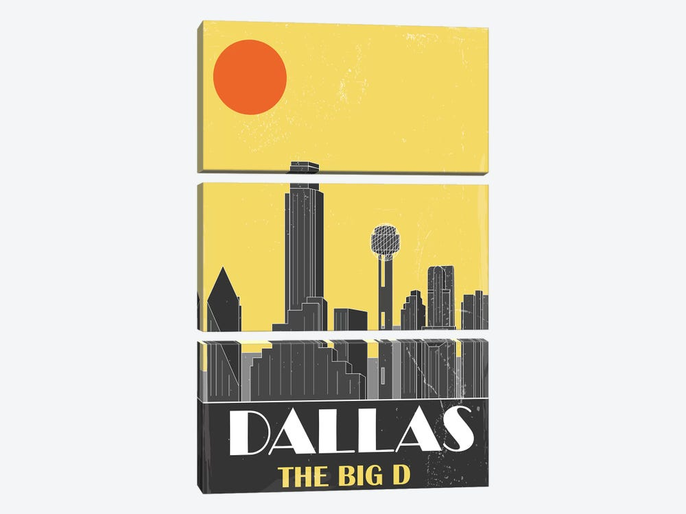 Dallas, Yellow by Fly Graphics 3-piece Canvas Art