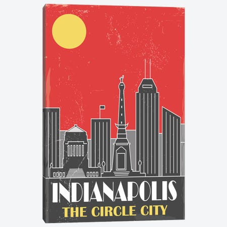 Indianapolis, Red Canvas Print #FLY17} by Fly Graphics Canvas Wall Art