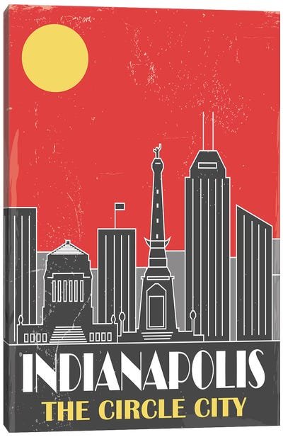 Indianapolis, Red Canvas Art Print