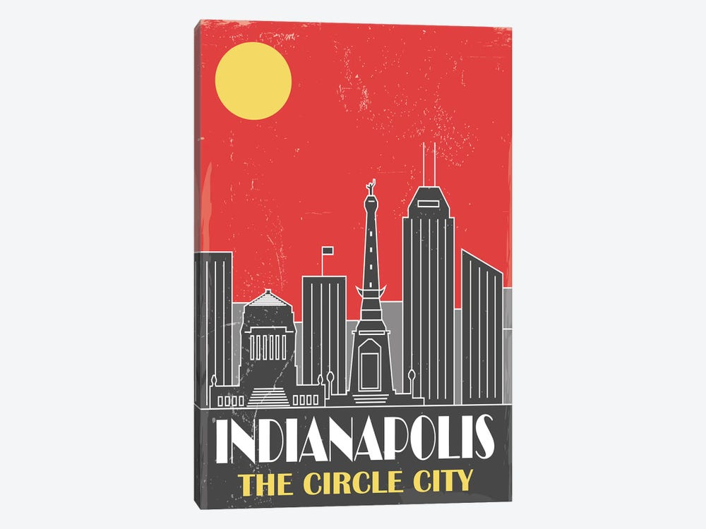 Indianapolis, Red by Fly Graphics 1-piece Canvas Art