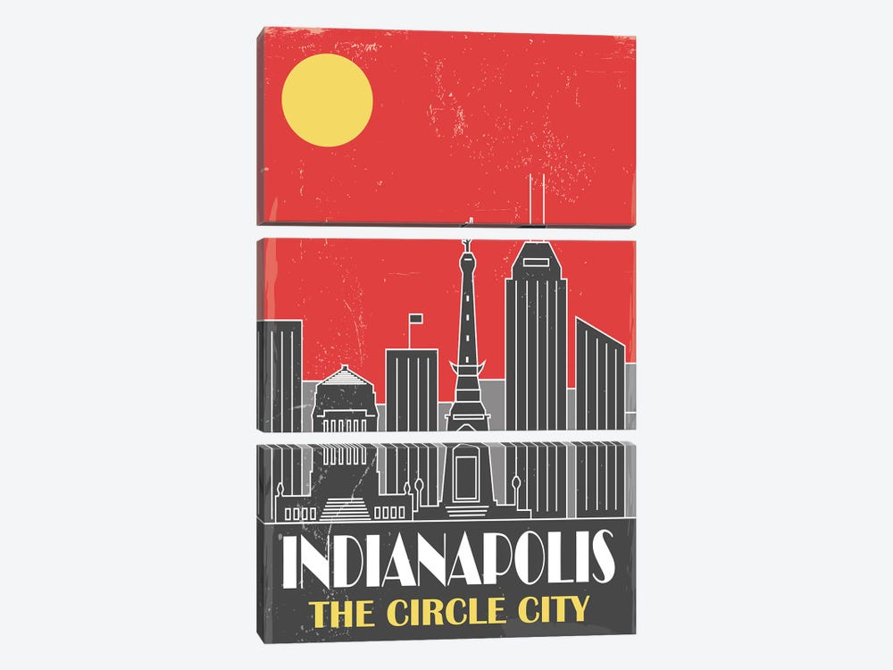 Indianapolis, Red by Fly Graphics 3-piece Canvas Wall Art