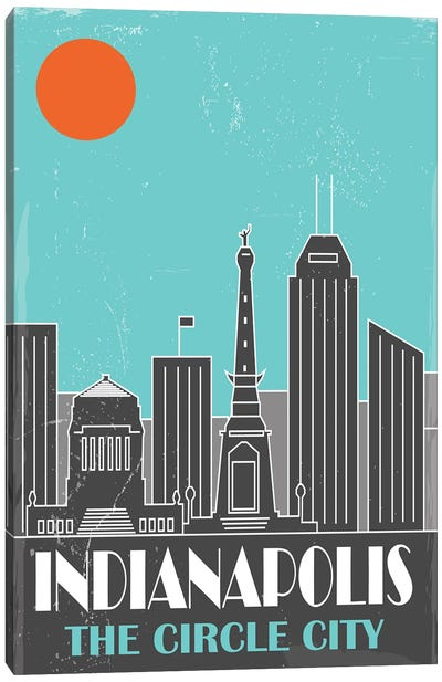Indianapolis, Sky Blue Canvas Art Print