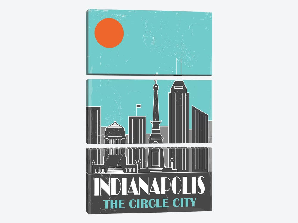 Indianapolis, Sky Blue by Fly Graphics 3-piece Canvas Art Print