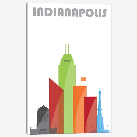 Indianapolis, White Canvas Print #FLY19} by Fly Graphics Canvas Art Print