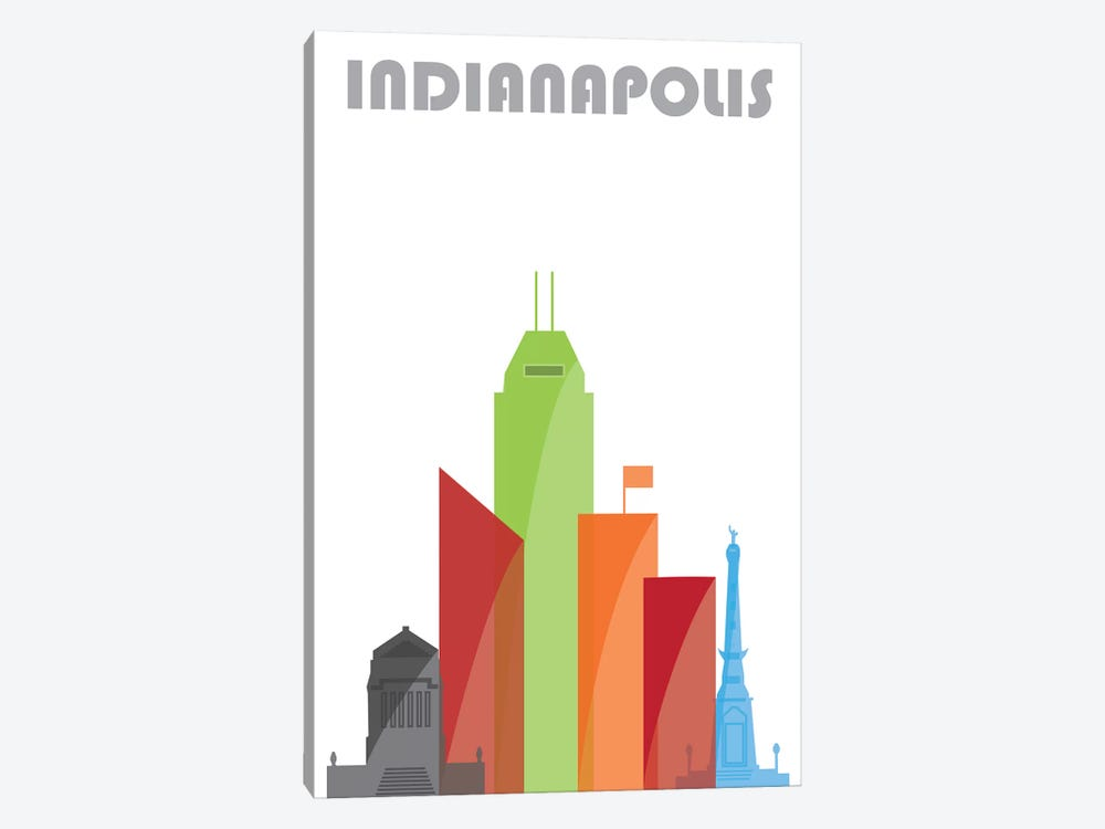 Indianapolis, White by Fly Graphics 1-piece Canvas Artwork