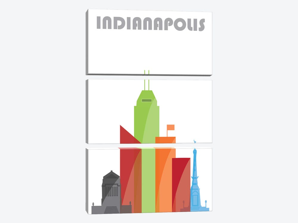 Indianapolis, White by Fly Graphics 3-piece Canvas Wall Art