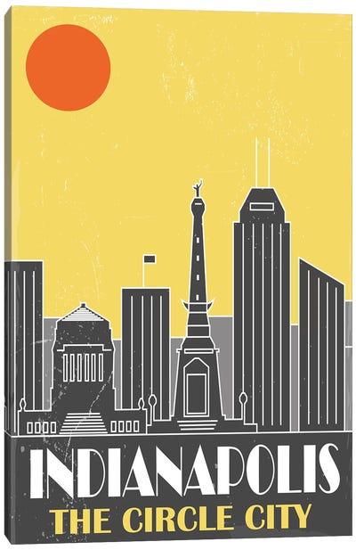 Indianapolis, Yellow Canvas Art Print