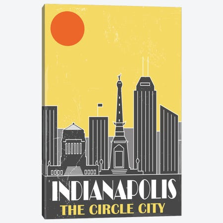 Indianapolis, Yellow Canvas Print #FLY20} by Fly Graphics Canvas Wall Art