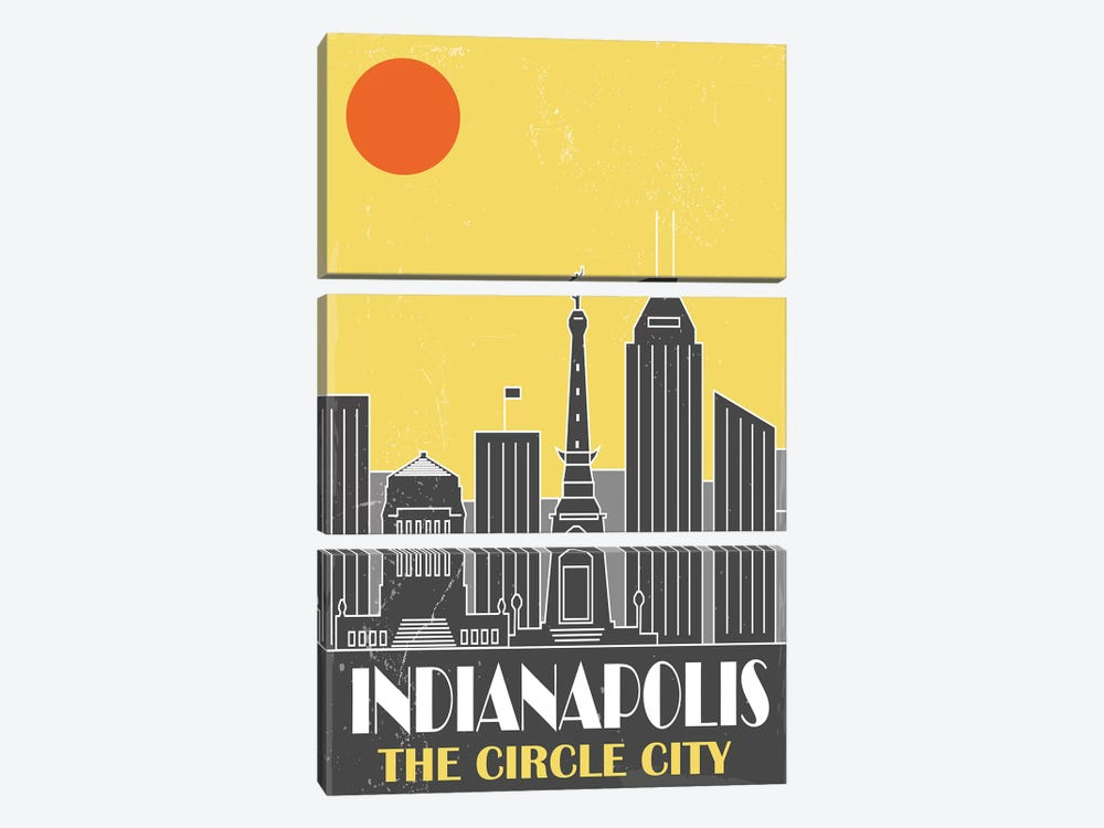 Indianapolis, Yellow by Fly Graphics 3-piece Canvas Artwork