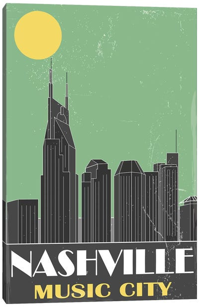 Nashville, Green Canvas Art Print