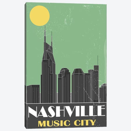 Nashville, Green Canvas Print #FLY26} by Fly Graphics Canvas Art Print