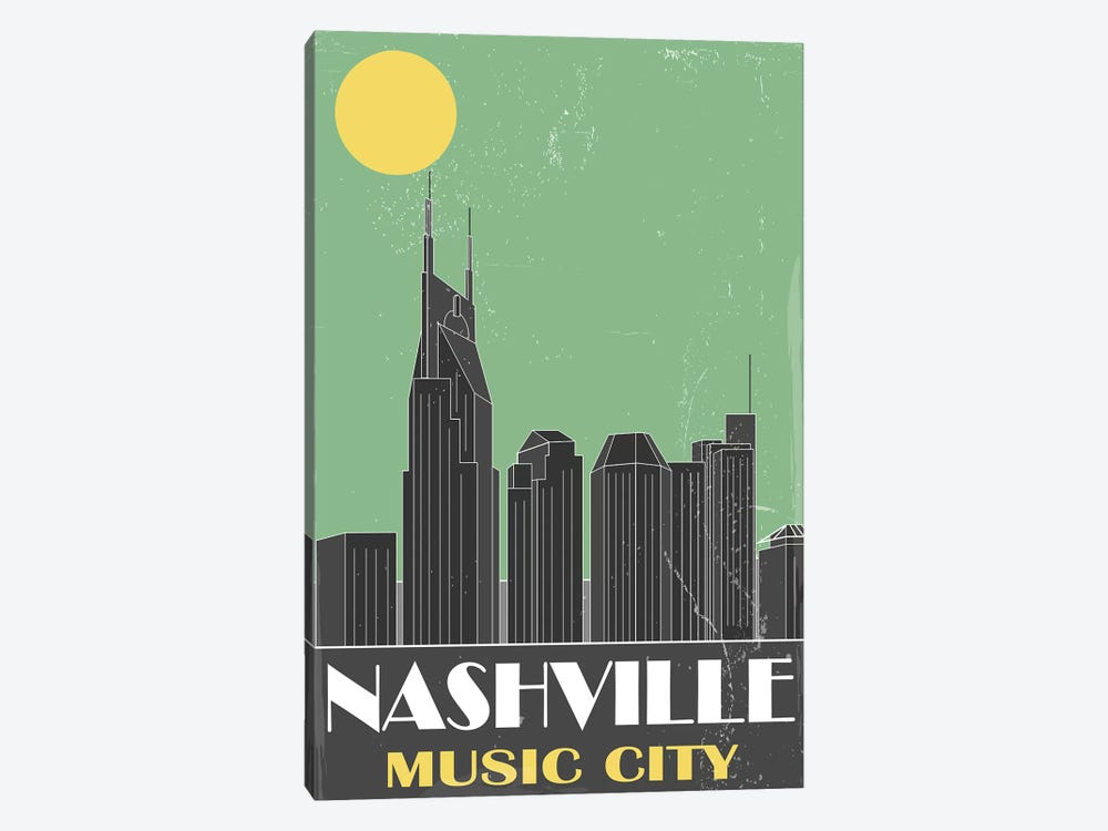 Nashville, Green by Fly Graphics 1-piece Canvas Art