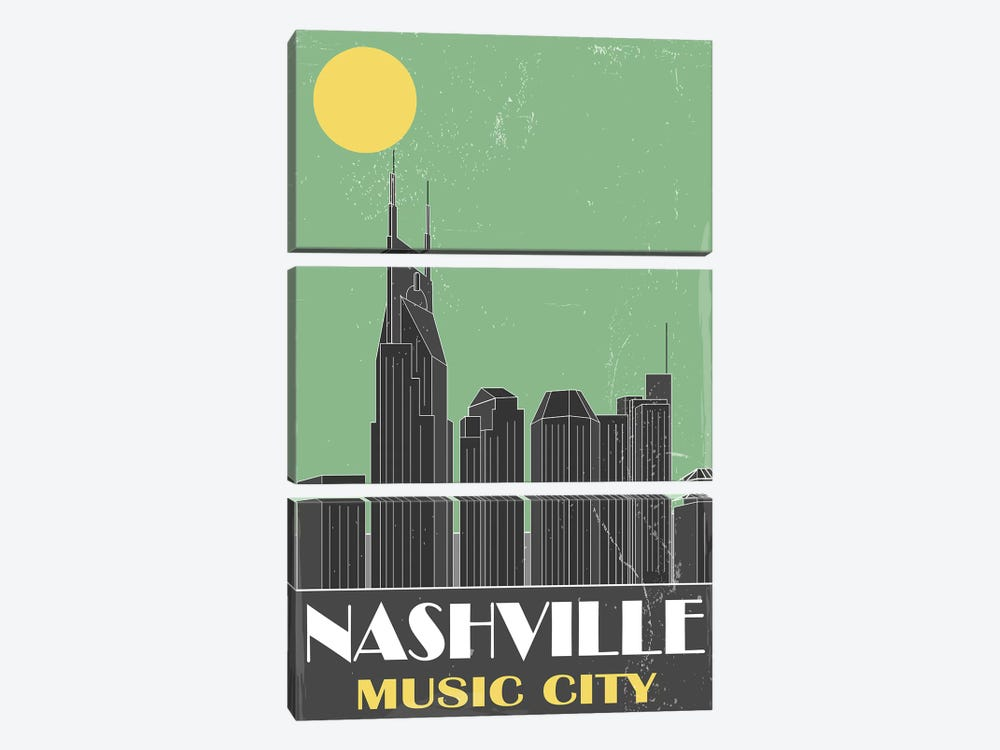 Nashville, Green by Fly Graphics 3-piece Canvas Wall Art