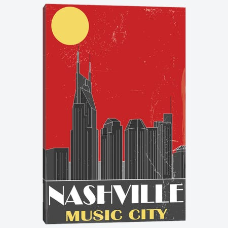 Nashville, Red Canvas Print #FLY27} by Fly Graphics Canvas Art Print