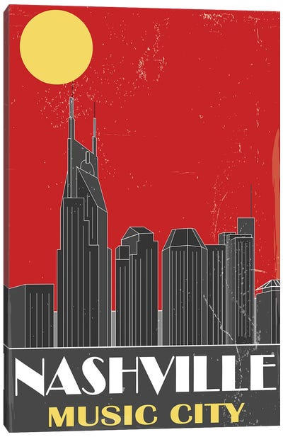 Nashville, Red Canvas Art Print