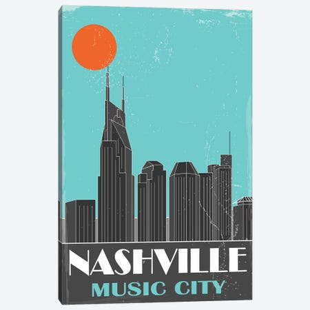 Nashville, Sky Blue Canvas Print #FLY28} by Fly Graphics Canvas Art
