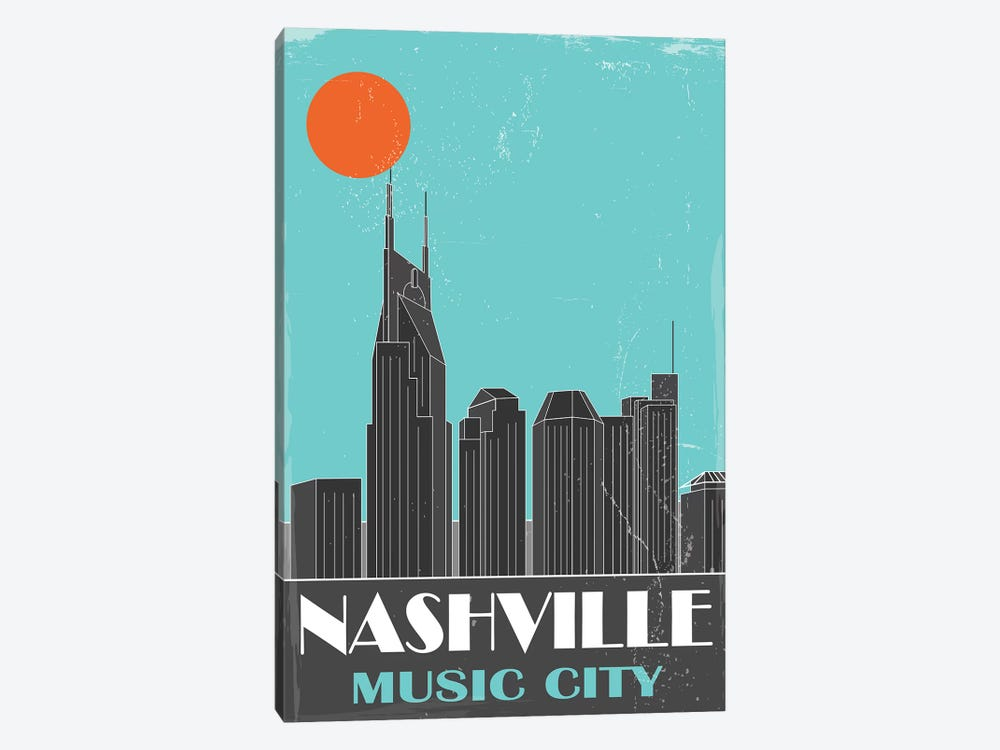 Nashville, Sky Blue by Fly Graphics 1-piece Canvas Wall Art