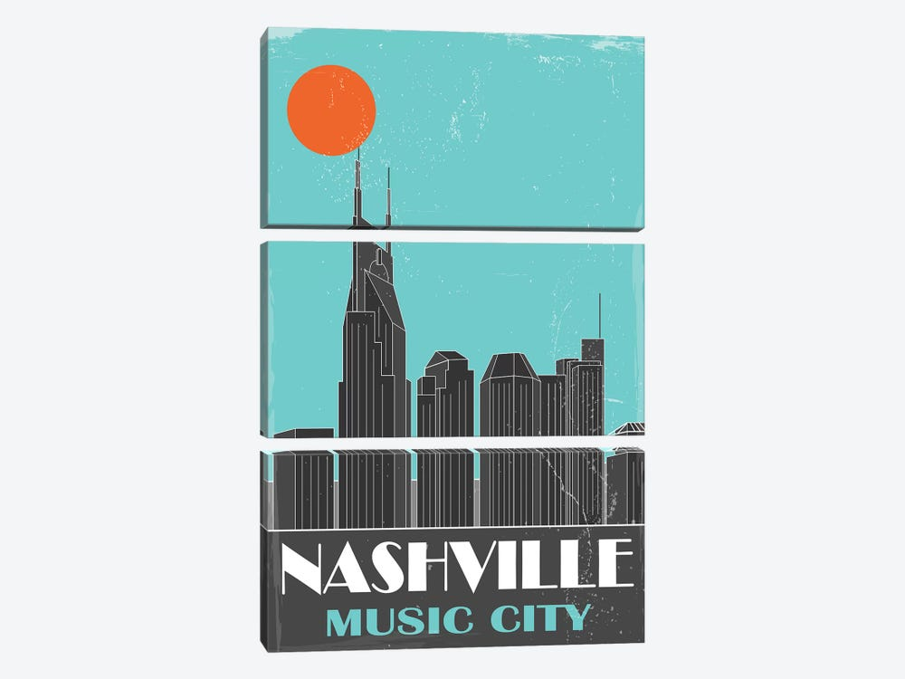 Nashville, Sky Blue by Fly Graphics 3-piece Canvas Artwork