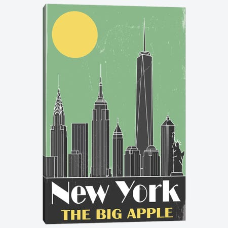 New York, Green Canvas Print #FLY29} by Fly Graphics Canvas Art