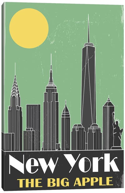New York, Green Canvas Art Print
