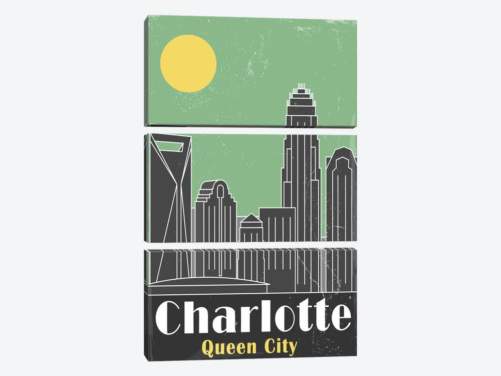 Charlotte, Green by Fly Graphics 3-piece Canvas Wall Art