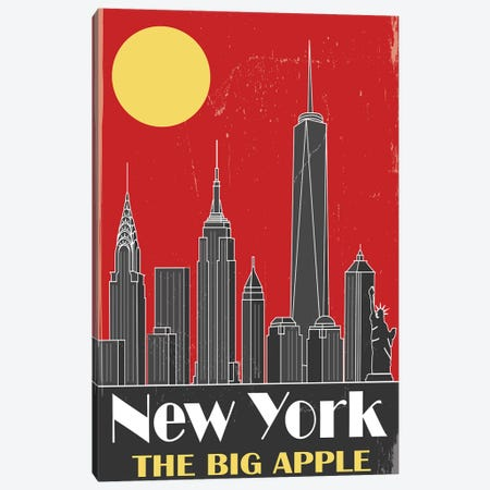 New York, Red Canvas Print #FLY30} by Fly Graphics Canvas Art Print