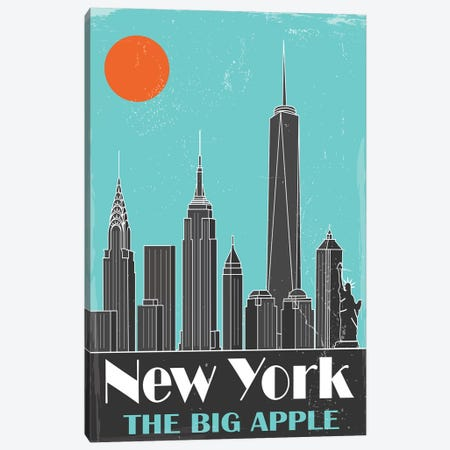 New York, Sky Blue Canvas Print #FLY31} by Fly Graphics Art Print