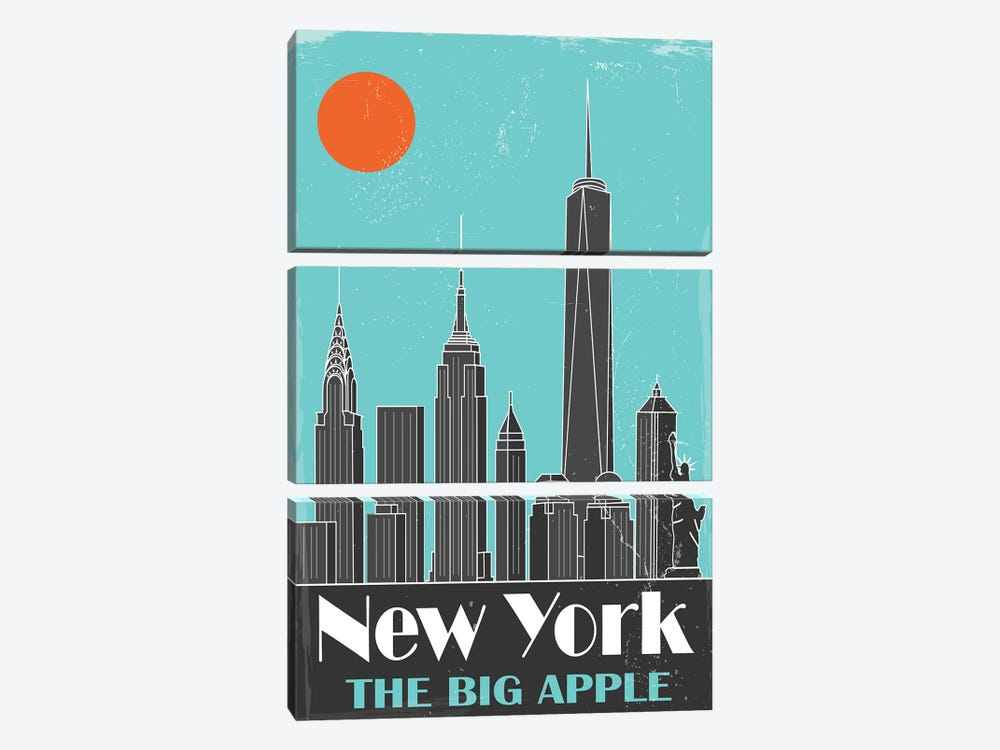 New York, Sky Blue by Fly Graphics 3-piece Canvas Wall Art