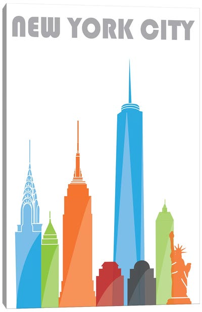 New York, White Canvas Art Print