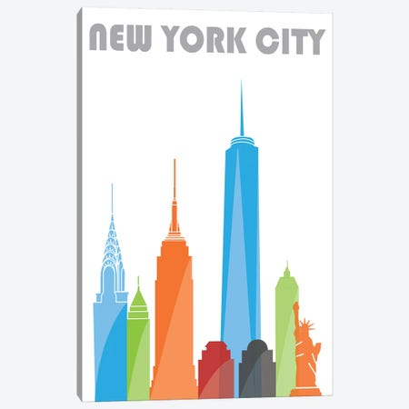 New York, White Canvas Print #FLY32} by Fly Graphics Canvas Print