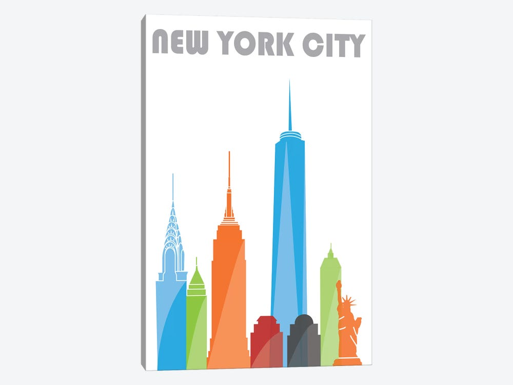 New York, White by Fly Graphics 1-piece Canvas Print