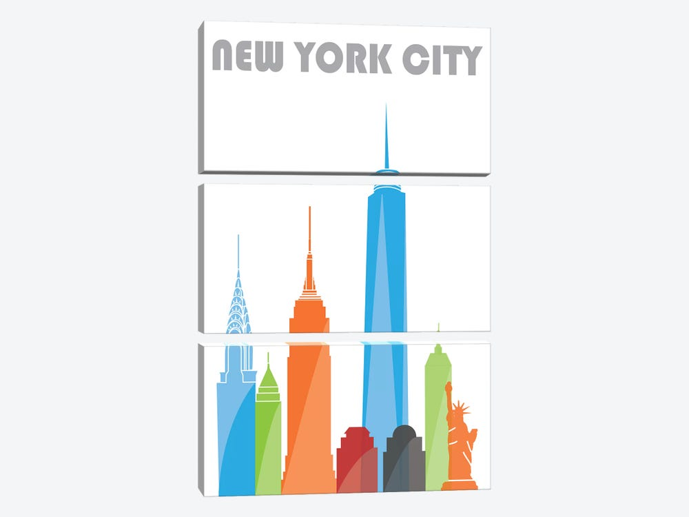 New York, White by Fly Graphics 3-piece Canvas Print