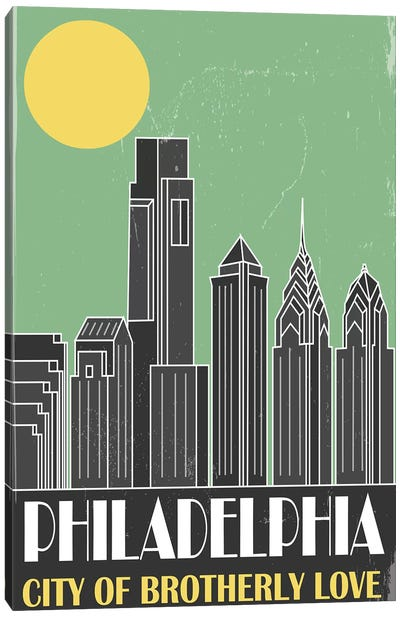 Philadelphia, Green Canvas Art Print