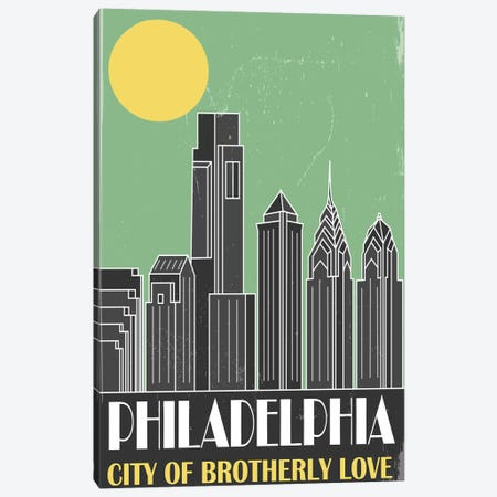 Philadelphia, Green Canvas Print #FLY33} by Fly Graphics Canvas Art Print