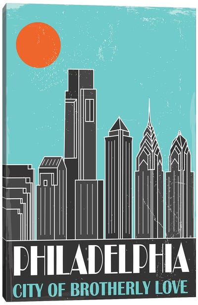 Philadelphia, Sky Blue Canvas Art Print