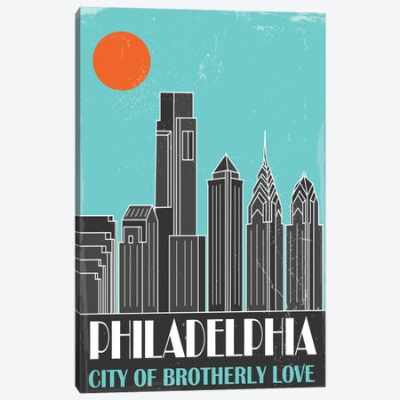 Philadelphia, Sky Blue Canvas Print #FLY34} by Fly Graphics Canvas Wall Art