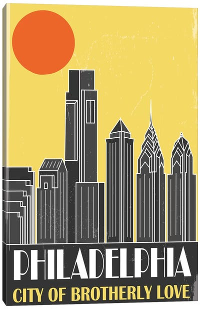 Philadelphia, Yellow Canvas Art Print