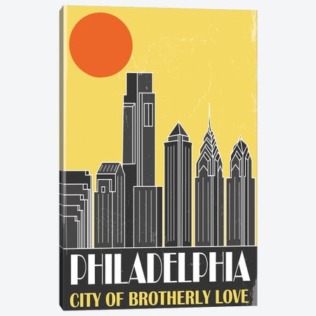 Philadelphia, Yellow Canvas Print #FLY35} by Fly Graphics Canvas Wall Art