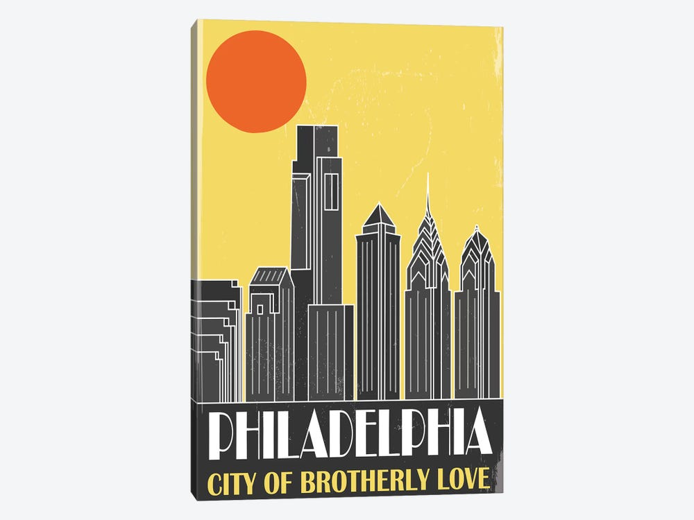 Philadelphia, Yellow by Fly Graphics 1-piece Canvas Art