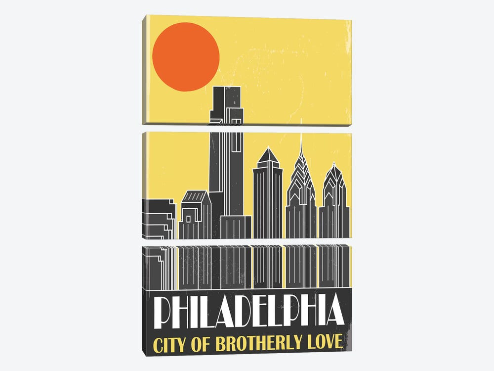 Philadelphia, Yellow by Fly Graphics 3-piece Canvas Wall Art