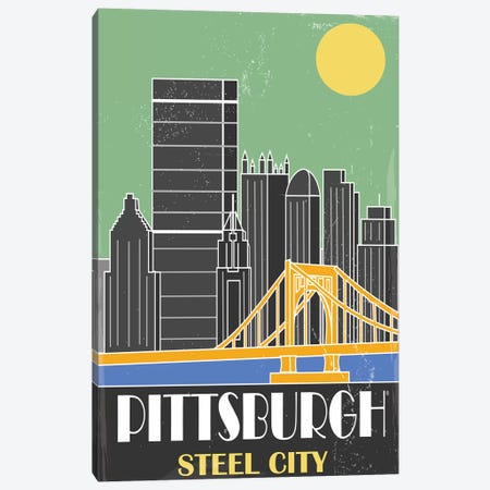 Pittsburgh, Green Canvas Print #FLY36} by Fly Graphics Canvas Art
