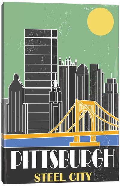 Pittsburgh, Green Canvas Art Print