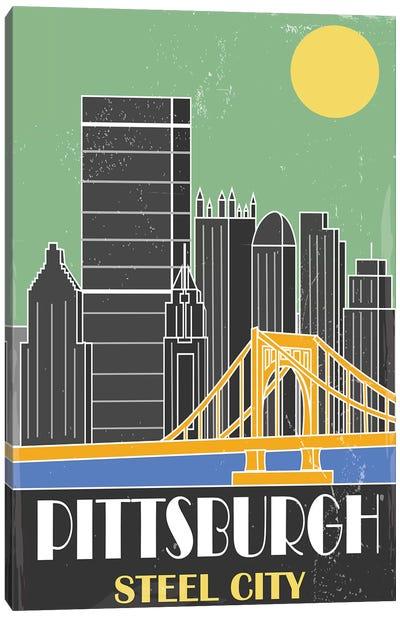 Pittsburgh, Green Canvas Art Print