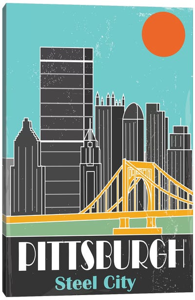 Pittsburgh, Sky Blue I Canvas Art Print