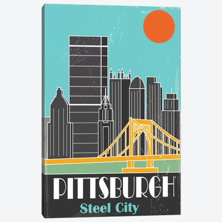 Pittsburgh, Sky Blue I Canvas Print #FLY37} by Fly Graphics Canvas Artwork