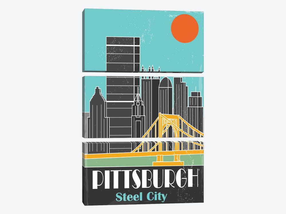 Pittsburgh, Sky Blue I by Fly Graphics 3-piece Canvas Artwork