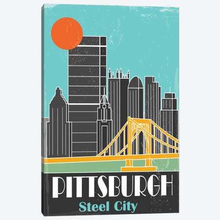 Pittsburgh, Sky Blue II Canvas Print #FLY38} by Fly Graphics Canvas Print